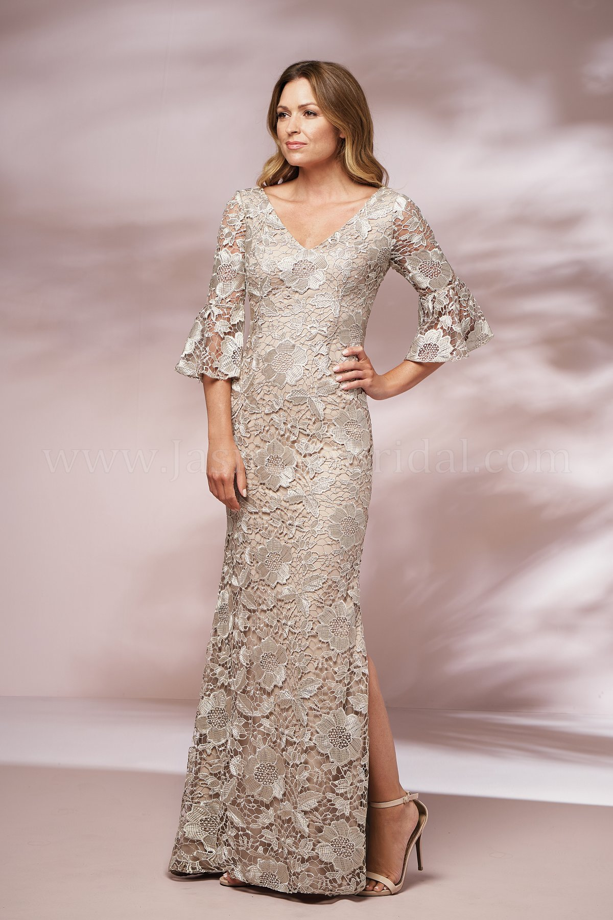 J205017 Long V Neck Lace Mob Dress With Sleeves And Slit