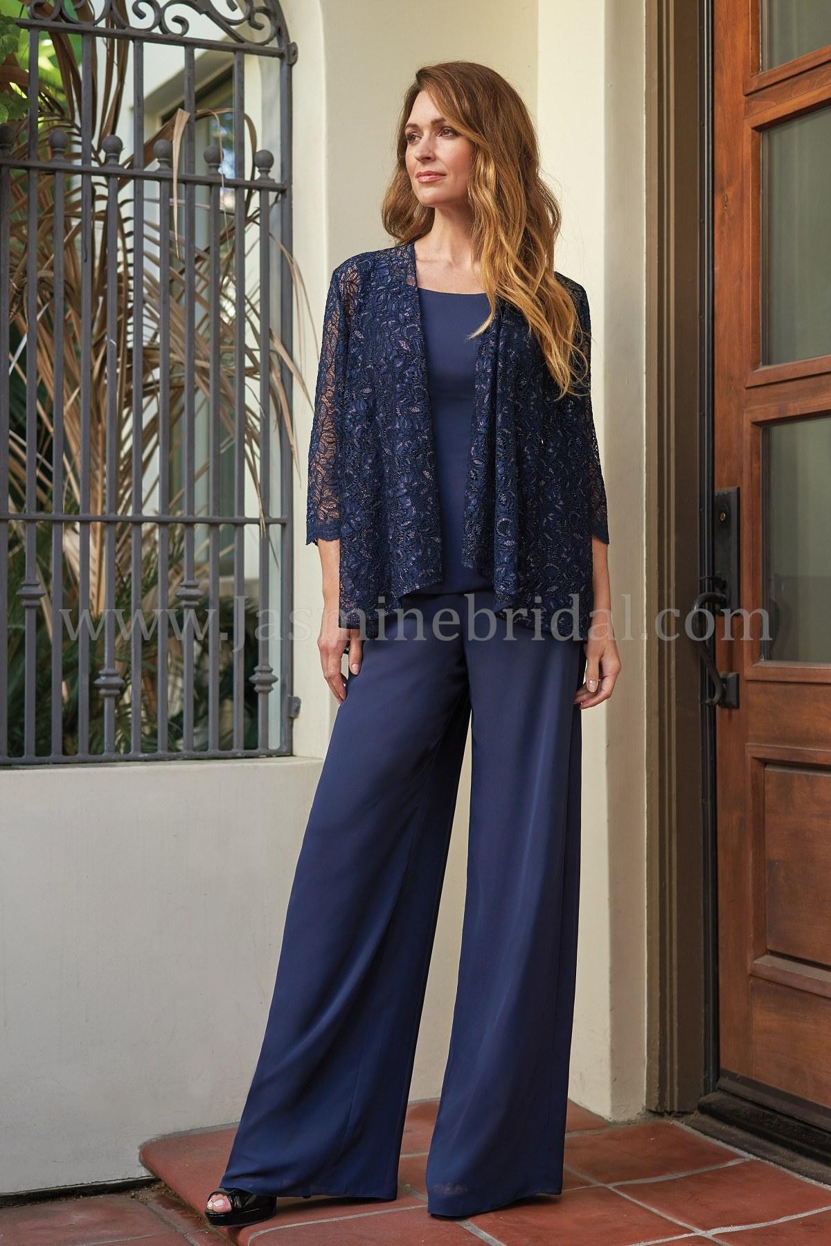 56f2b6dcdb3 J205063 Scoop Neckline Jade Chiffon MOB Pant Suit with Lace Jacket