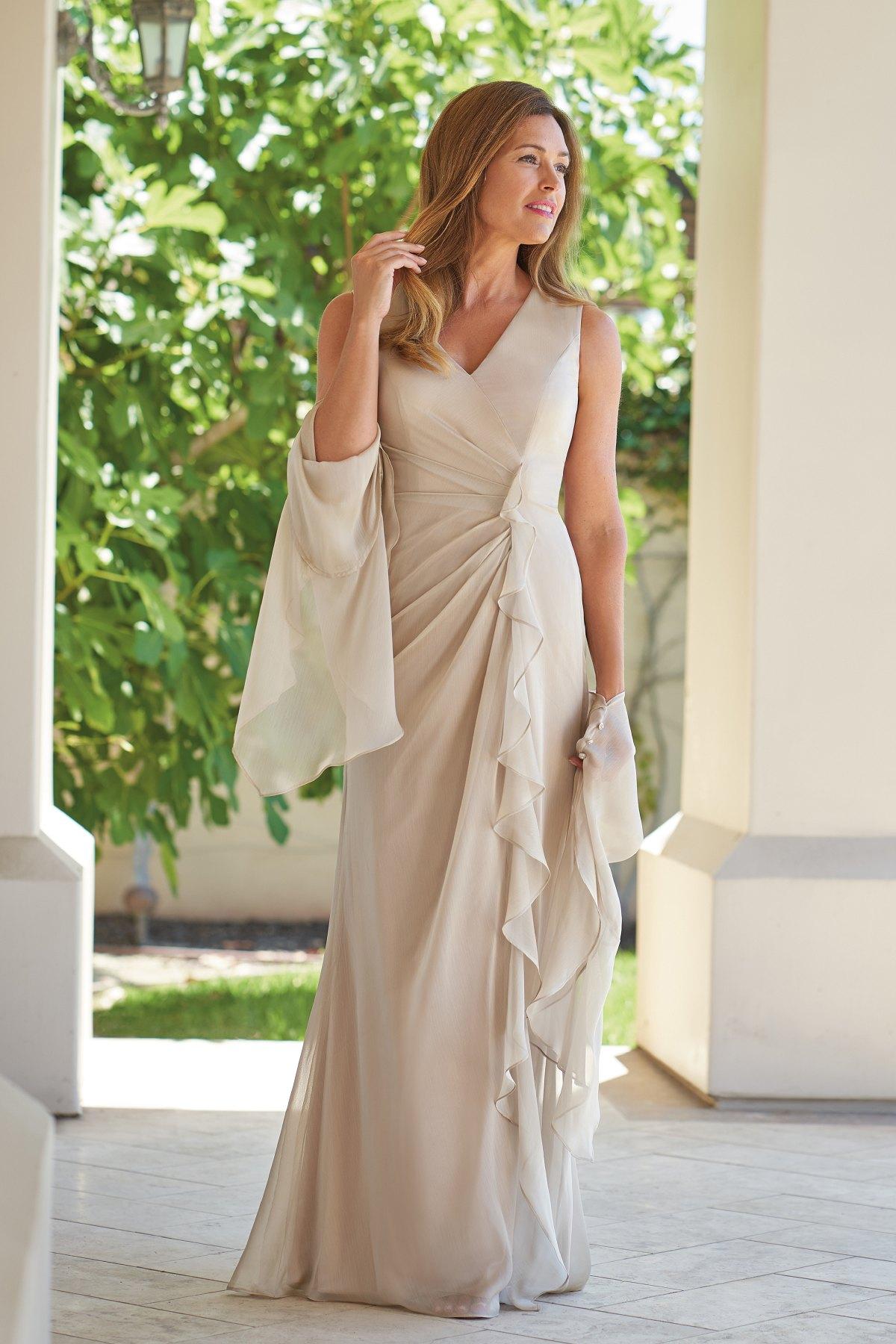 3c539c67e93 J215005 Jade Tiffany Chiffon MOB Dress with V-Neckline