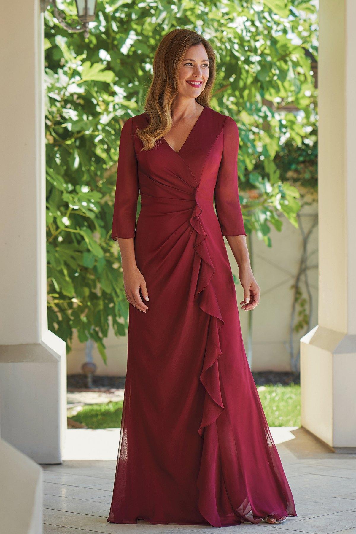 49420860570 J215005U Jade Tiffany Chiffon MOB Dress with V-Neckline