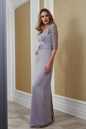 9891e10875 J215057. Jade tiffany chiffon and lace Mother of the Bride dress with V -neckline.