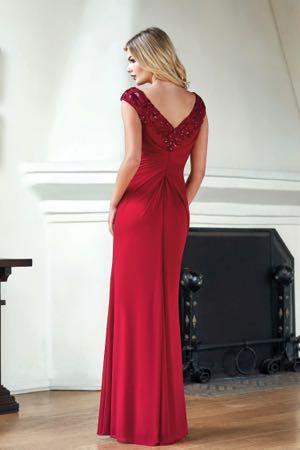 1f2fb1b0e00f J215061 Stretch Illusion & Adeline Sequin Lace MOB Dress with V-neckline