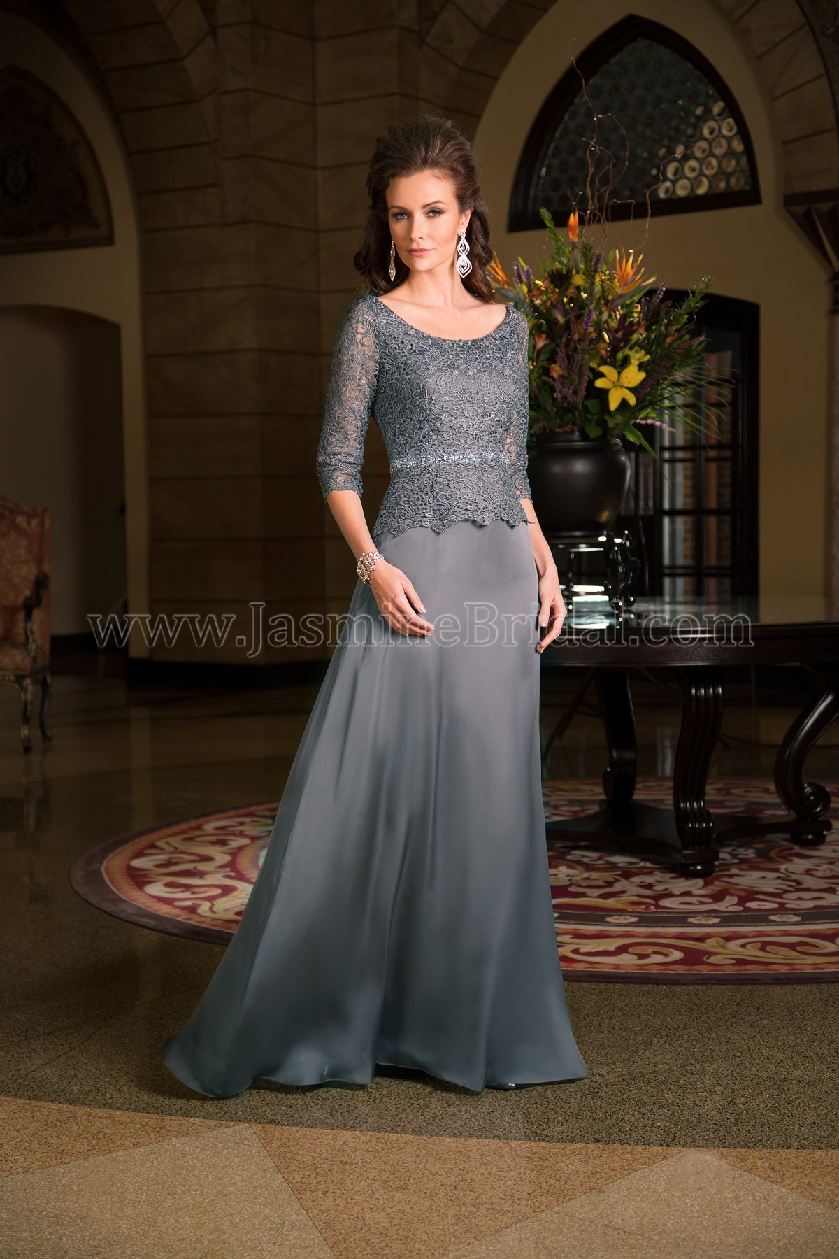 K168067 Long Bateau Neckline Lace Amber Satin Chiffon Mob Dress With Sleeves
