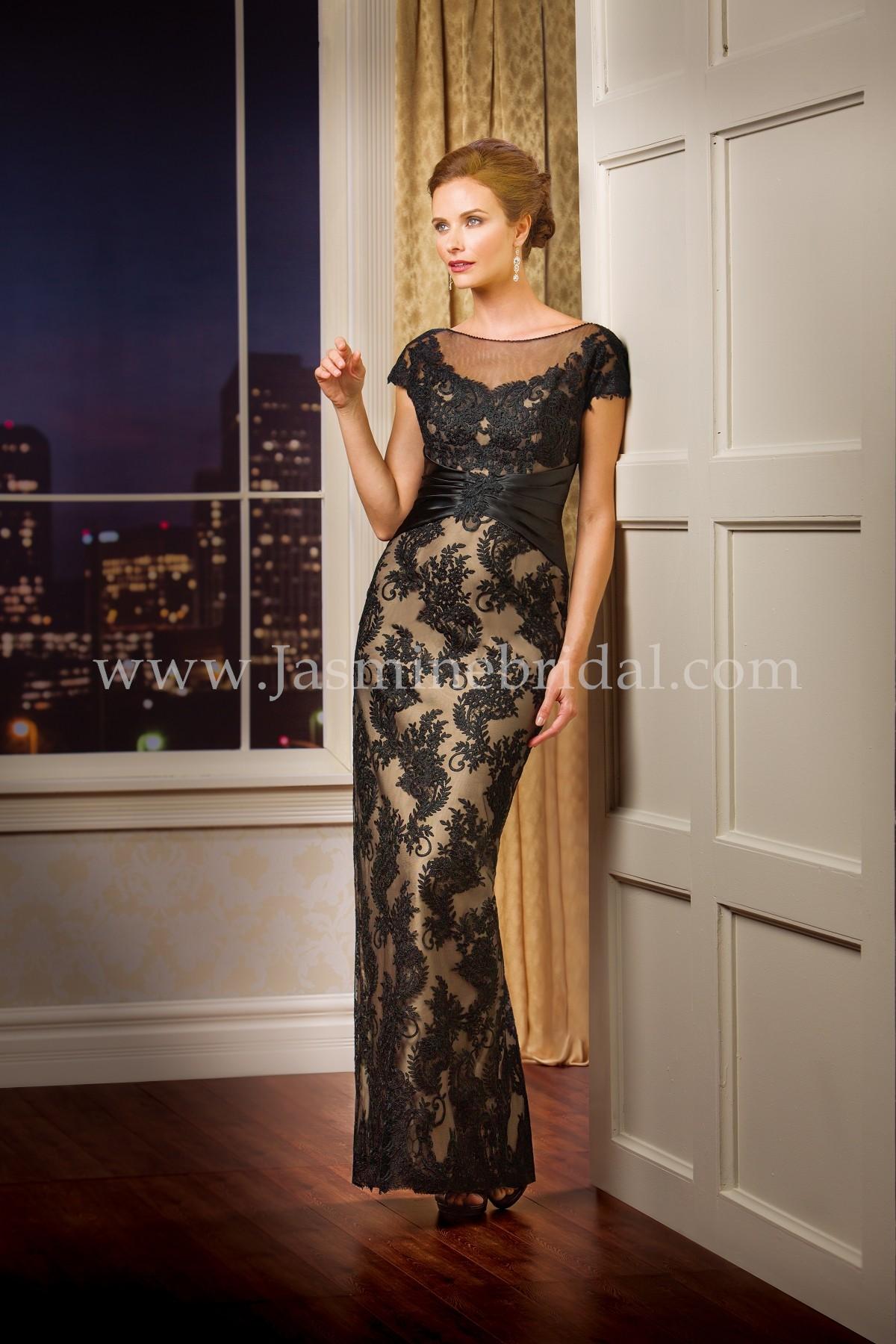 K178069 Long Boat Neckline Malay Satin Amp Lace Mob Dress