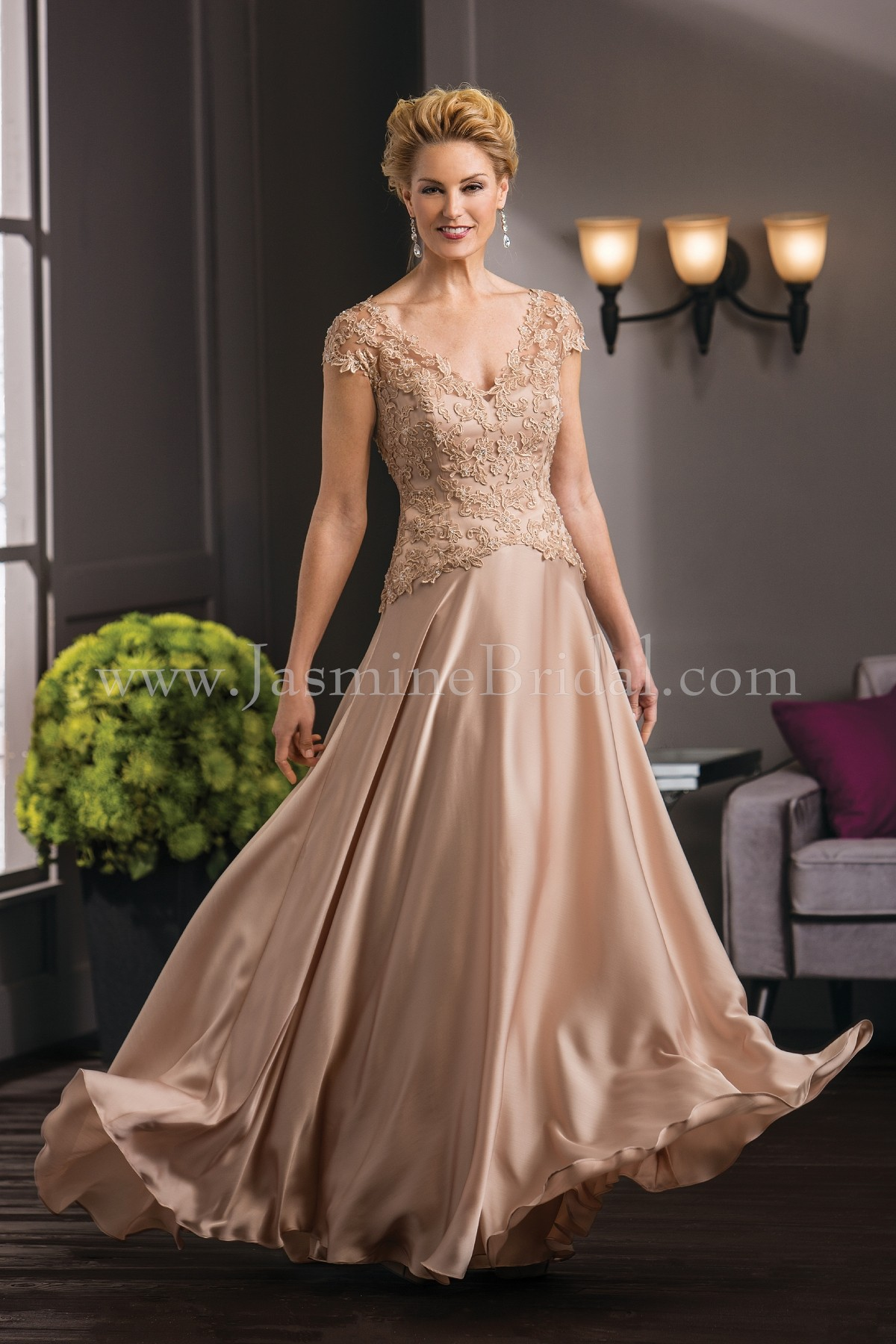 K188051 Long V Neck Lace Satin Face Chiffon Mob Dress With Cap Sleeves