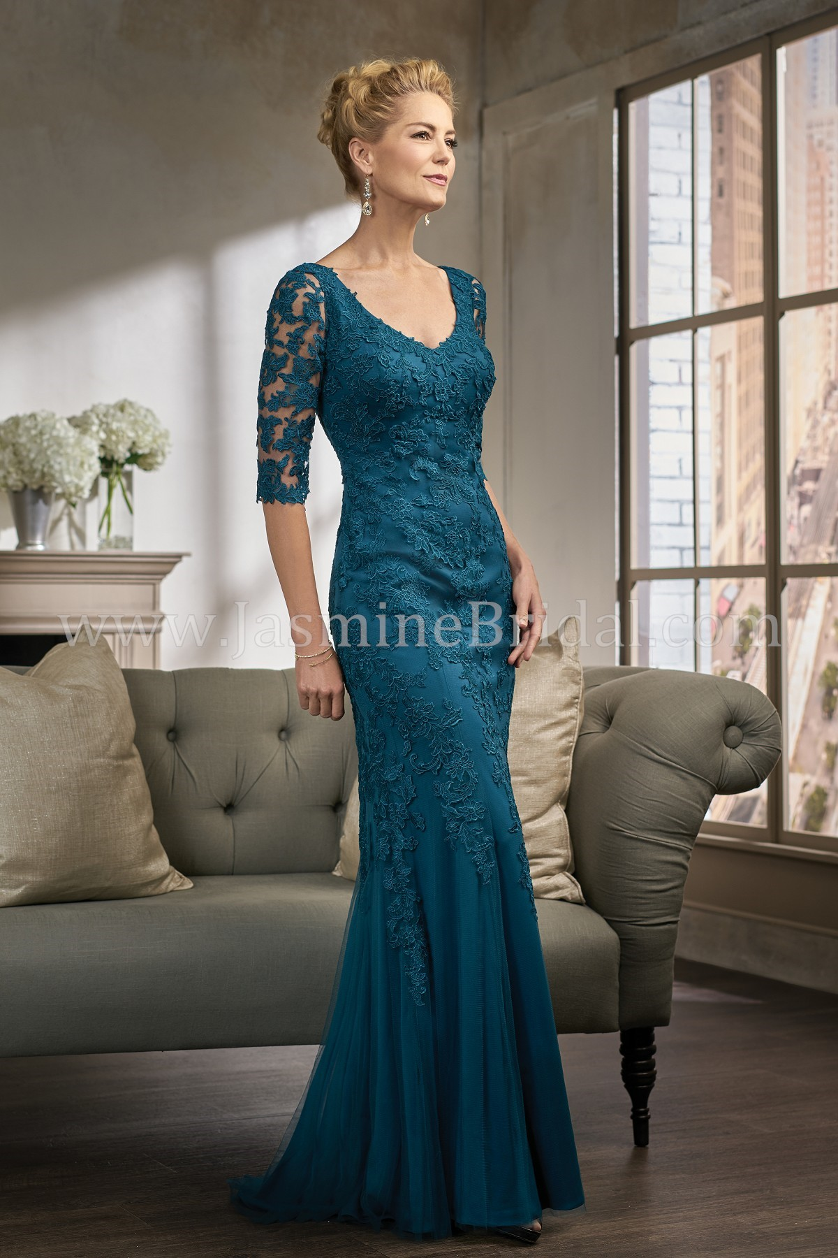K198007 Long V Neck Lace Amp Netting Mob Dress With Sleeves