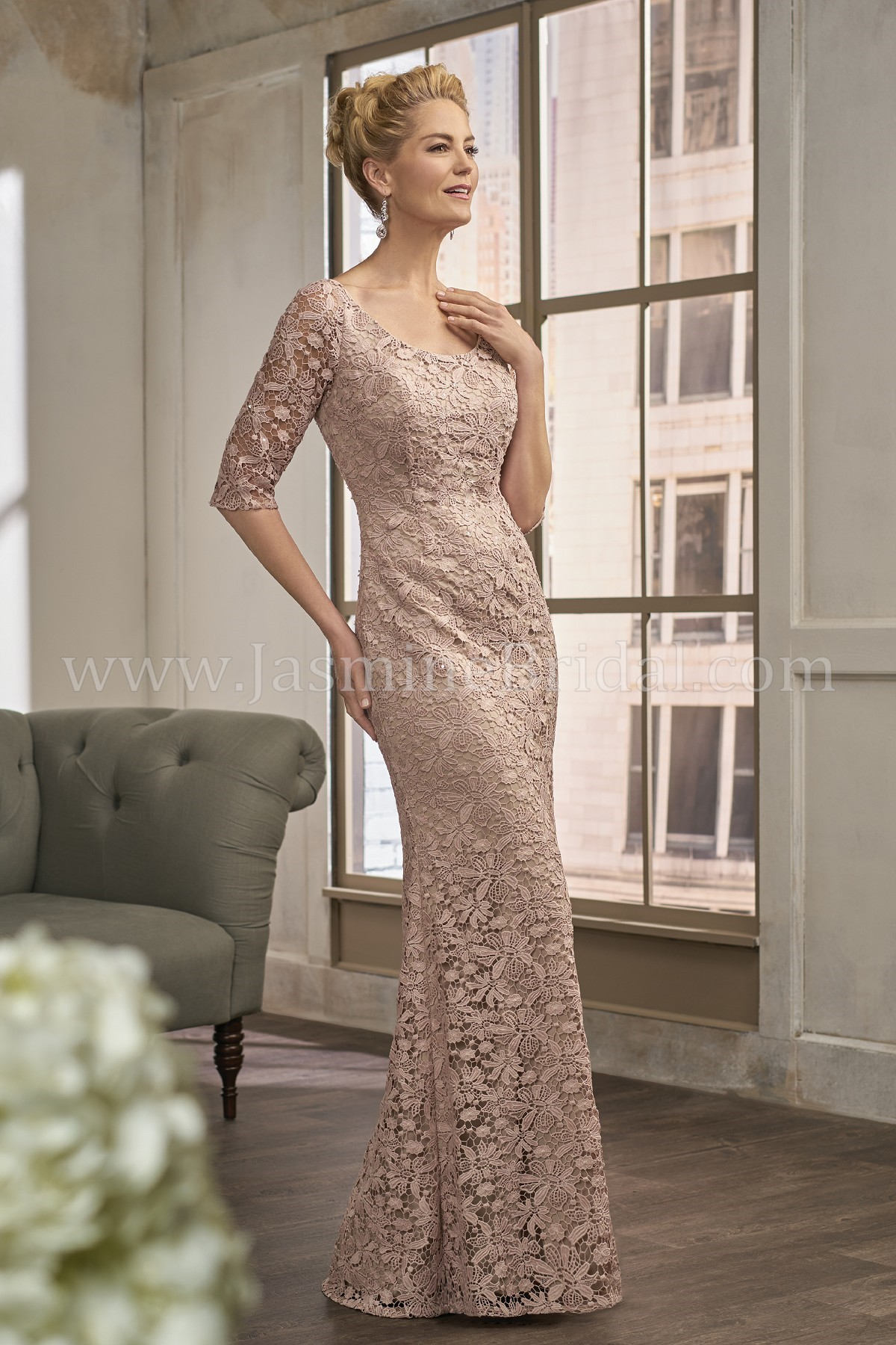 K198013 Long Scoop Neck Lace MOB Dress with Sleeves