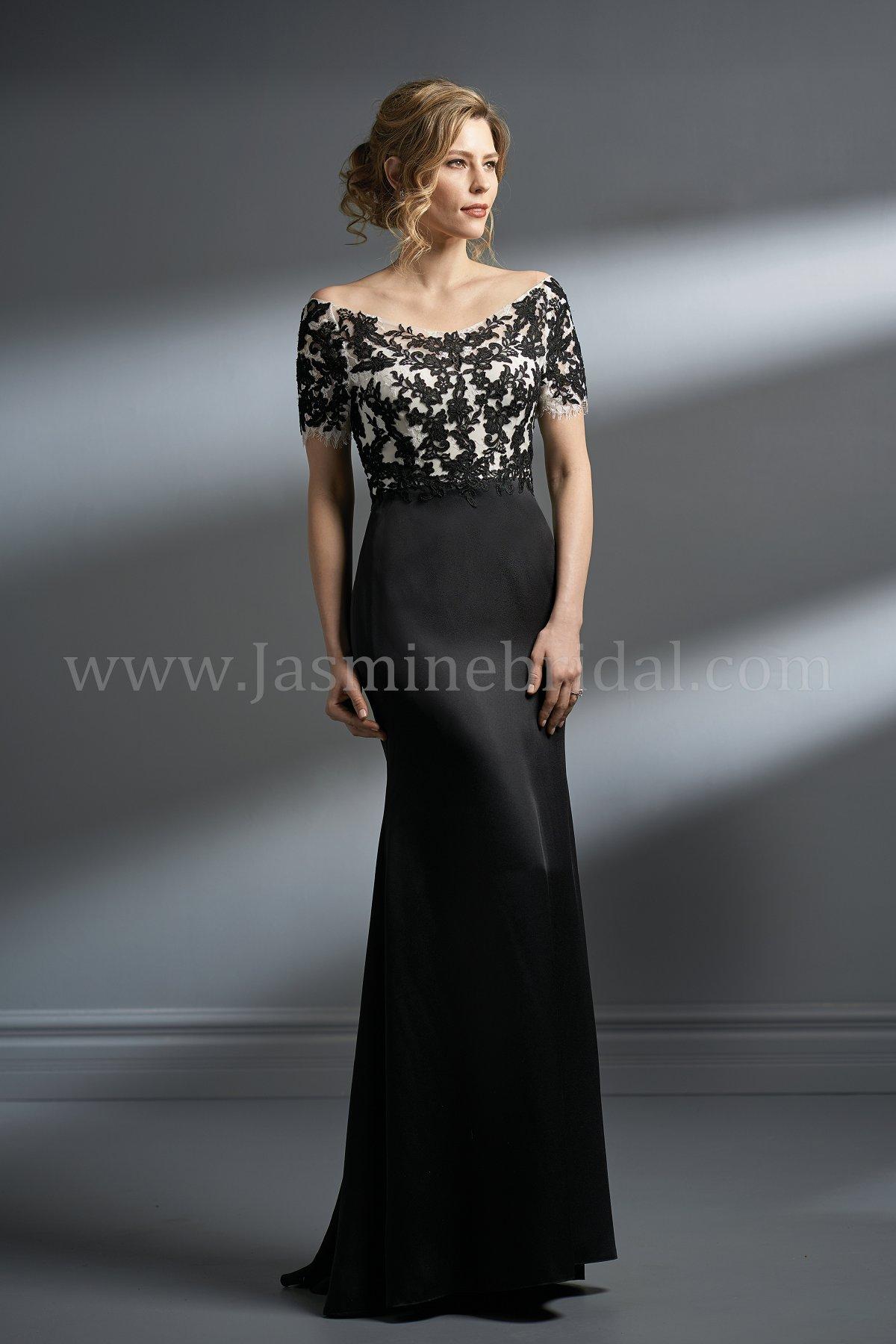 K198051 Long Portrait Neckline Lace Amp Crepe Mob Dress With