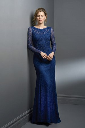 K198053 Long Boat Neckline Lace Mob Dress With Sleeves