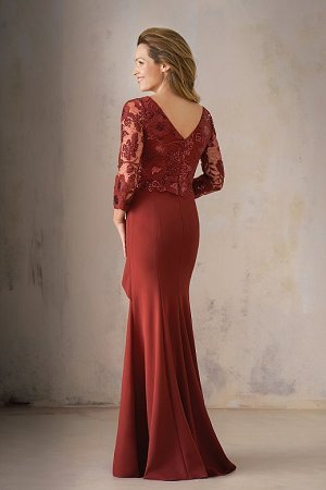 bd072a4e96d7 K208001 Long V-neck Sequin Lace & Stretch Crepe MOB Dress with Sleeves