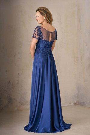 c132c55c21 K208003 Long Illusion Neckline Satin Face Chiffon w  Lace MOB Dress