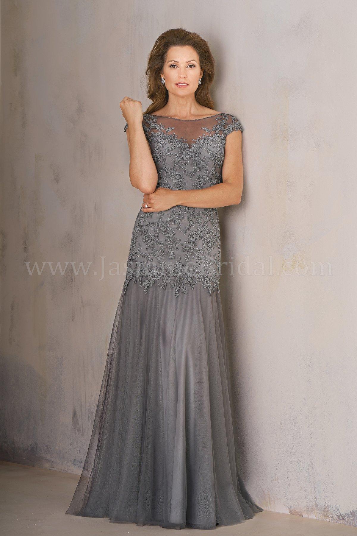 K208006 Long Illusion Neckline Lace Amp Netting Mob Dress