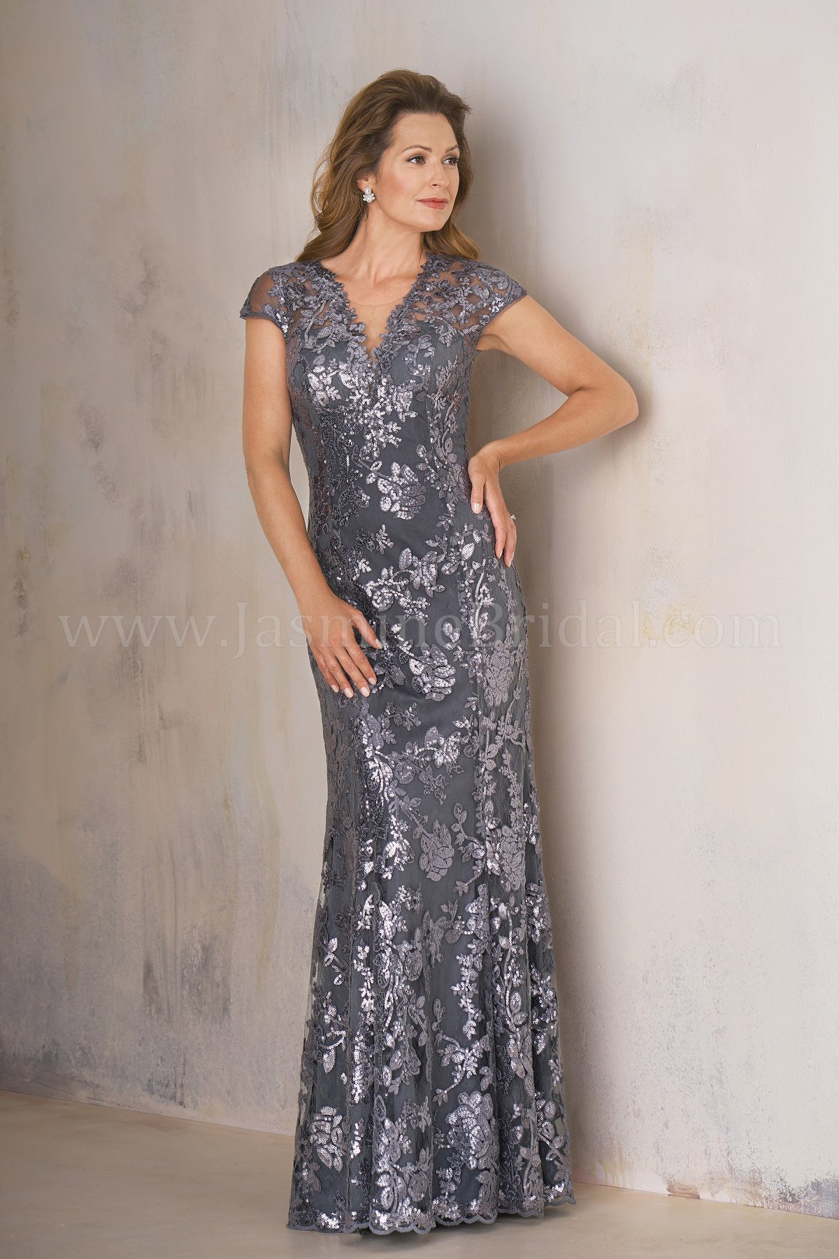 78d6b2ae7cd K208008 Long V-neck Sequin Lace MOB Dress with Cap Sleeves