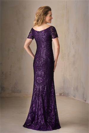 K208009 Long Portrait Neckline Embroidery Lace Mob Dress