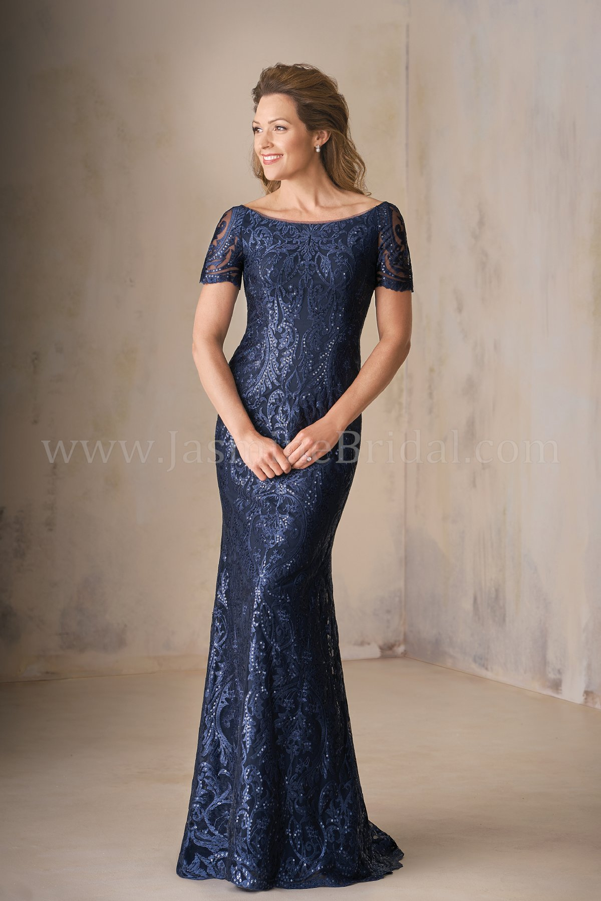 K208009 Long Portrait Neckline Embroidery Lace Mob Dress With Short Sleeves