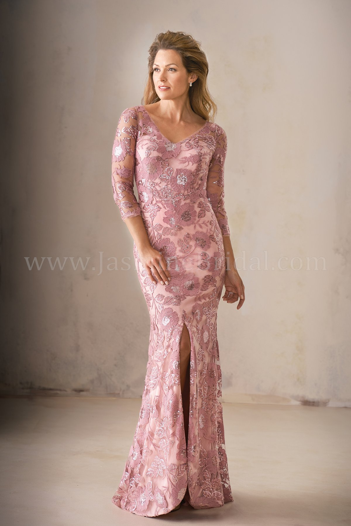 ea293687e71d K208011 Long V-neck Sequin Lace MOB Dress with Sleeves and Slit