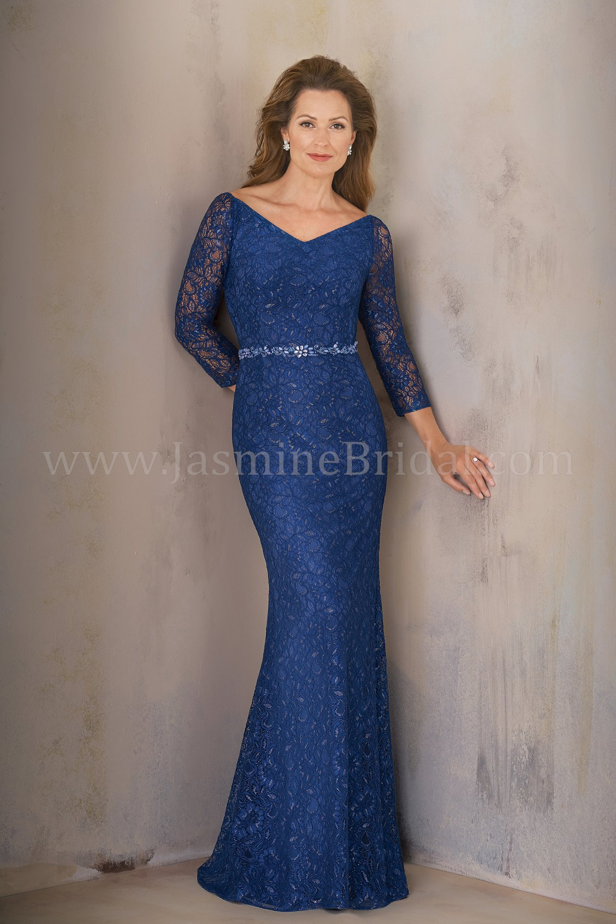 K208014 Long Portrait Neckline Lace Mob Dress With Sleeves