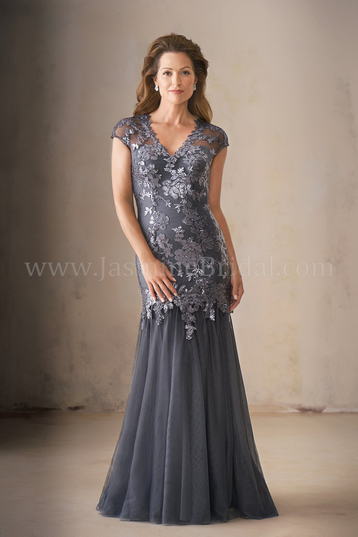 K208015 Long V Neck Sequin Lace Amp Netting Mob Dress With