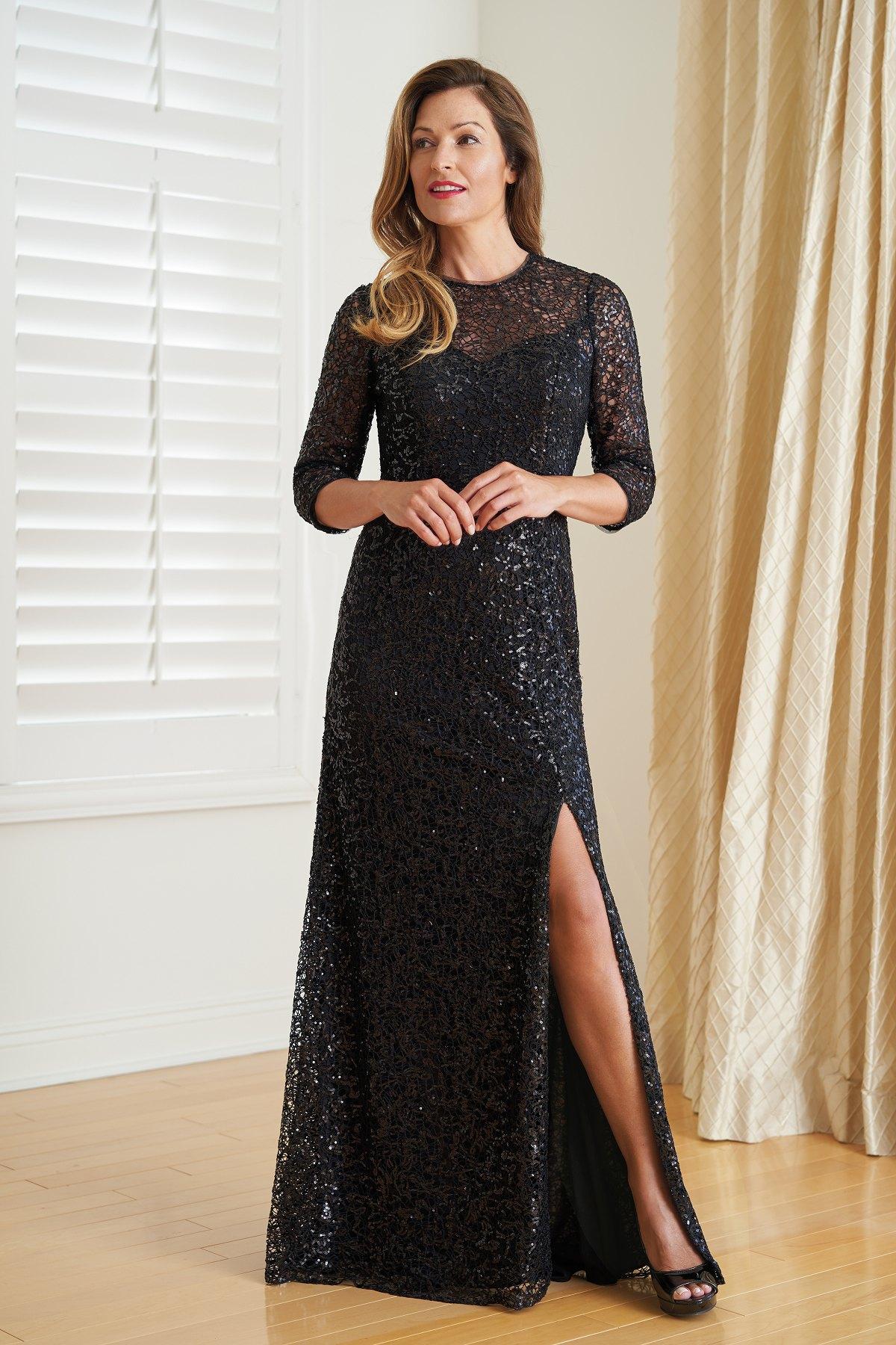 bd1c7dba9995 K218016U Grace Sequin Lace MOB Dress with Jewel Neckline
