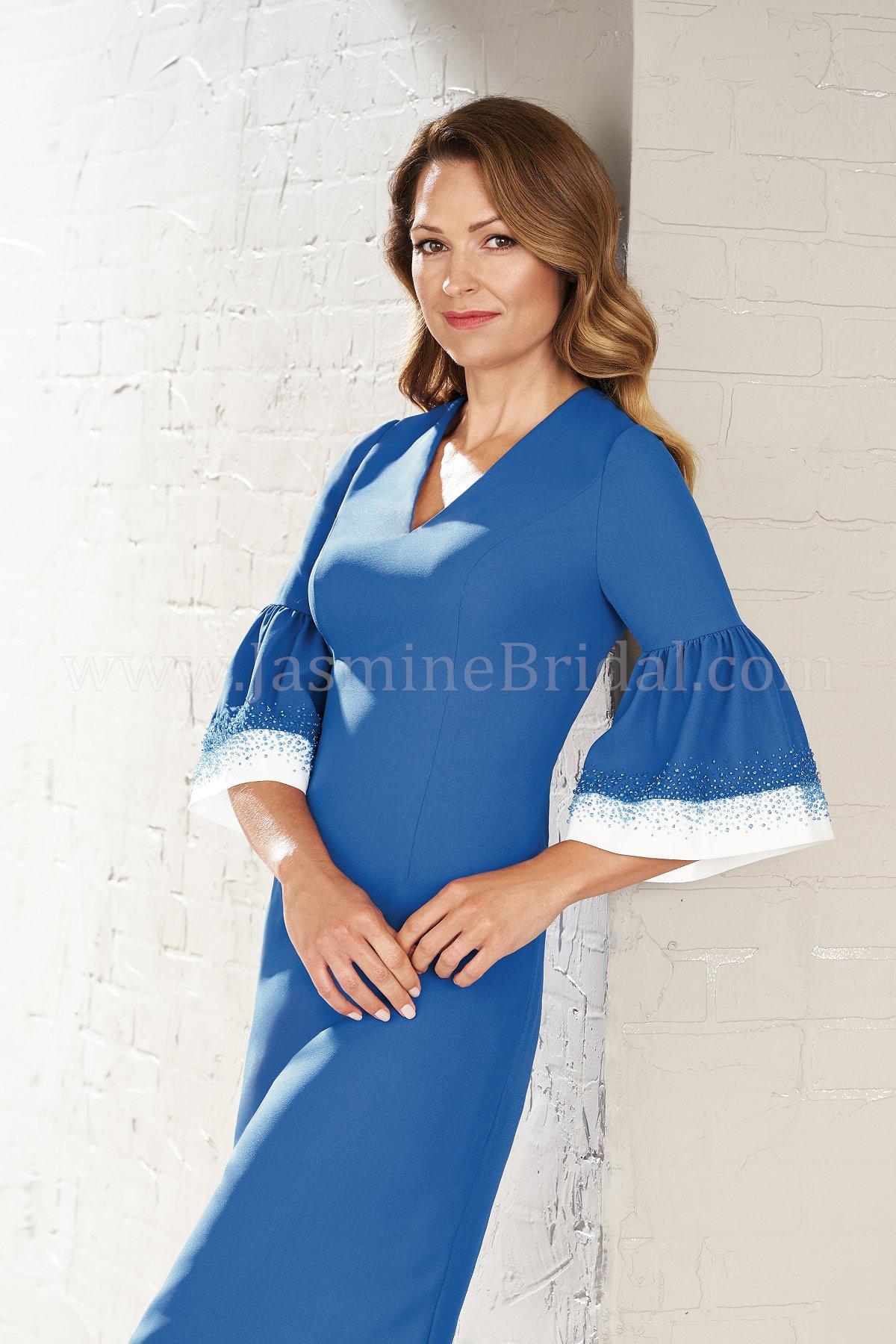 M200002 Knee Length V-neck Soft Crepe MOB Dress with Sleeves