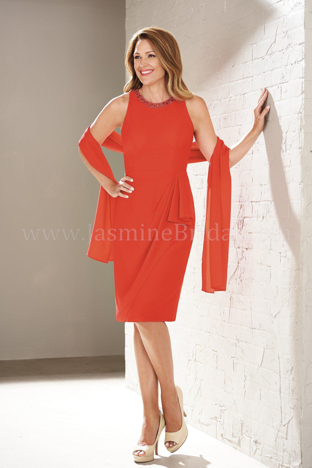 M200003 Knee Length Jewel Neckline Mob Dress With Shawl