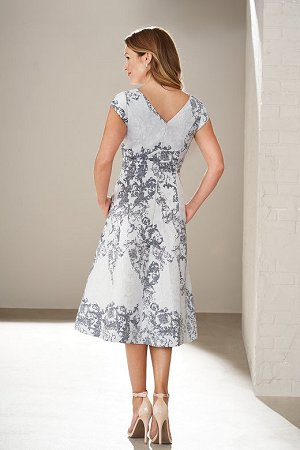 M200011 Knee Length V Neck Damask Jacquard Mob Dress With