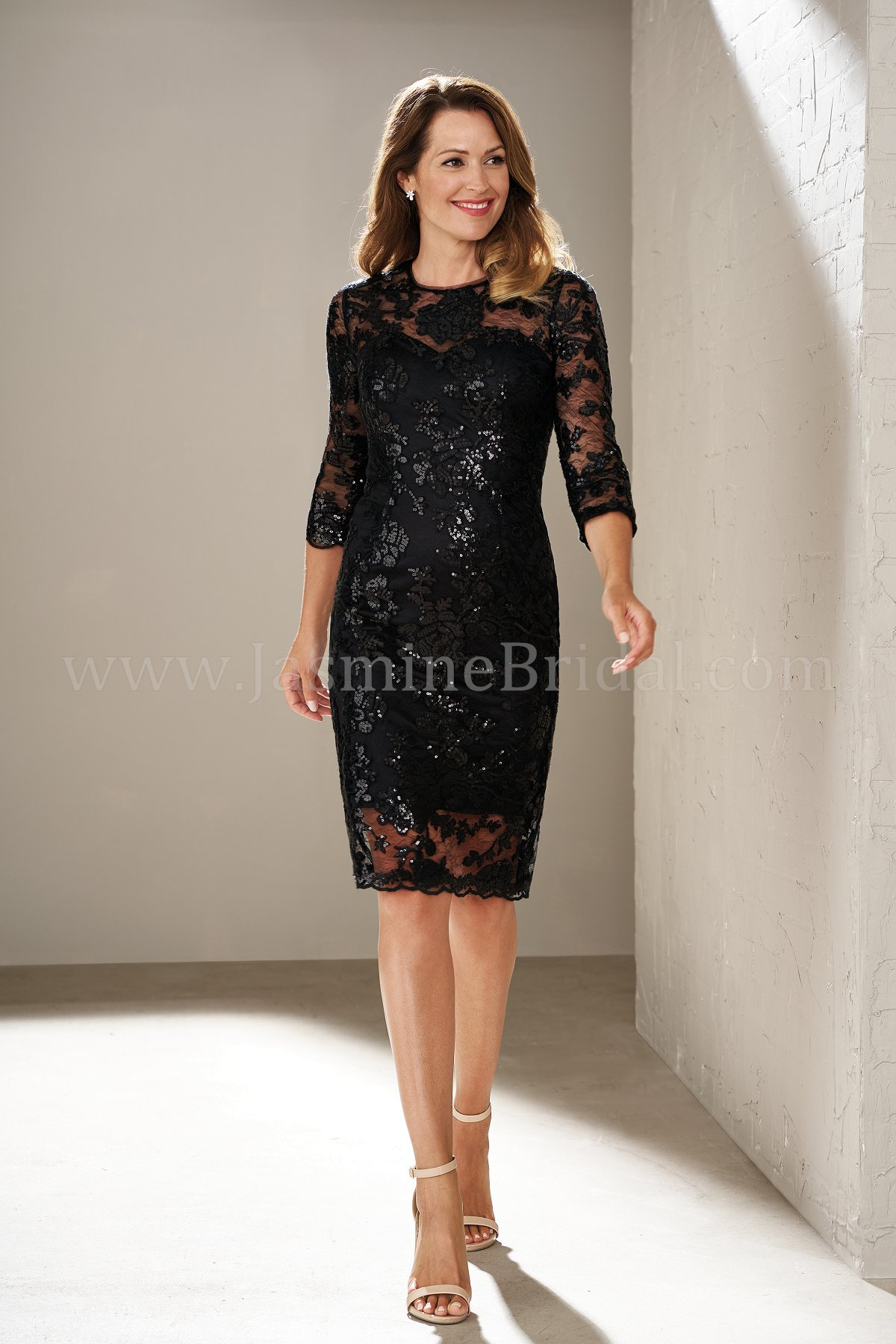 f19de9b581 M200015 Knee Length Illusion Neckline Sequin Lace MOB Dress with Sleeves